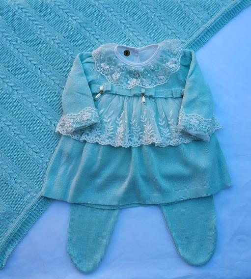 Saída De Maternidade Bebê Menina Vestido