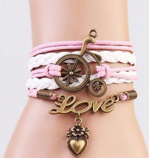 Pulseira Feminina Bracelete Couro Rosa Love Pingente Escuro