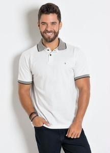 Camisa Polo Actual Branca Com Detalhe Na Gola