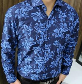 Camisa Social Masculina Floral Manga Longa Slim 2019