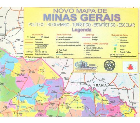 Novo Mapa De Minas Gerais Político Rodoviário Gigante