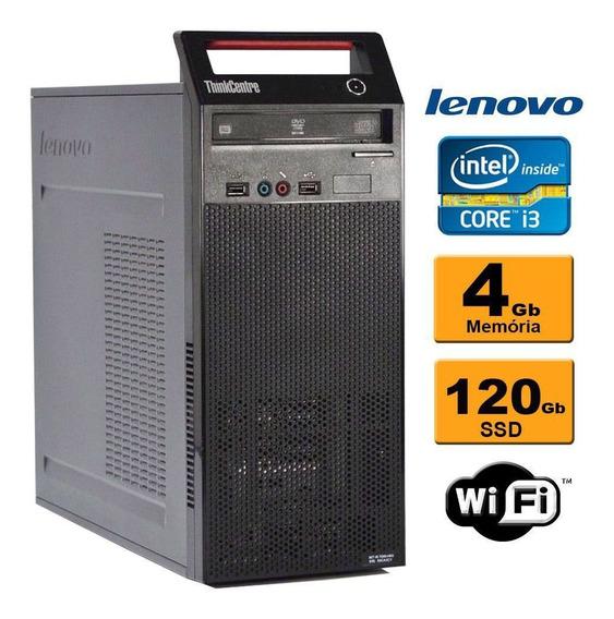 Cpu Lenovo Edge 73 Torre Intel Core I3 4ª 4gb Ssd 120gb Wifi