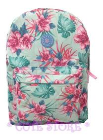 Mochila Feminina Floral Florida Verão Rosa Azul Zíper Bolso