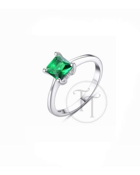 Anillo Solitario Plata Esterlina 925 Esmeralda Creada 2.3 Ct