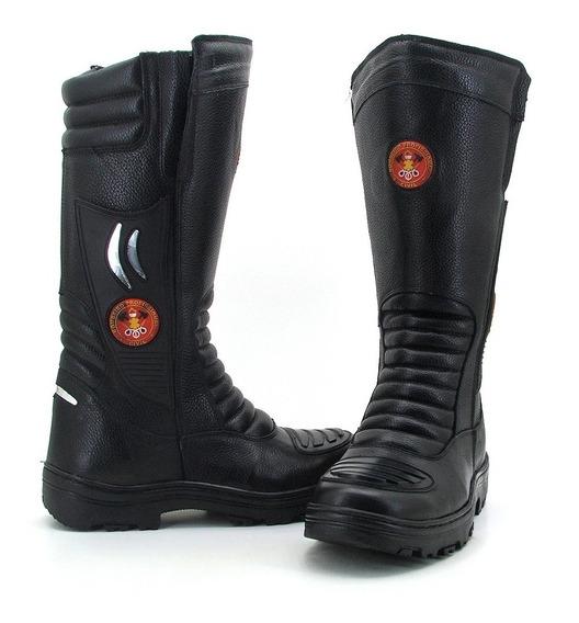 Bota Bombeiro Civil Couro Atron Shoes Preto 295
