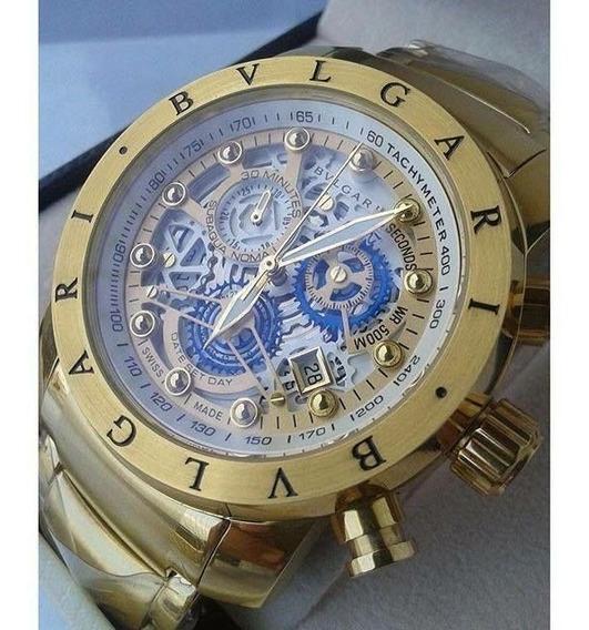 Relógio Bv Skeleton Série Ouro Original