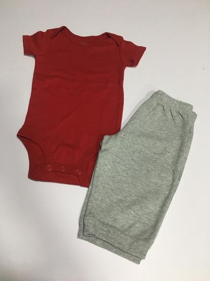 Body Vermelho Manga Curta E Calça Carter