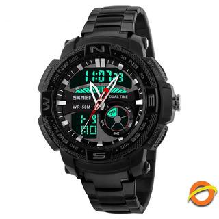 Reloj Digital Skmei Sumergible Cronometro Acero Luz 1121