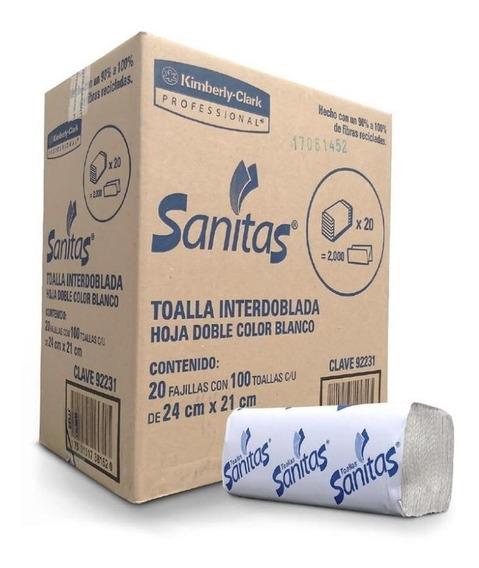 Caja Toalla Interdoblada Sanitas 20 Paquetes De 100 Hojas Do
