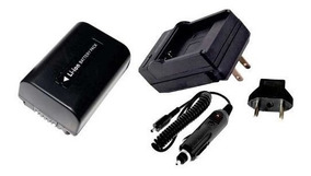 Kit Bateria Np-fv50 + Carregador Filmadora Sony Handycam