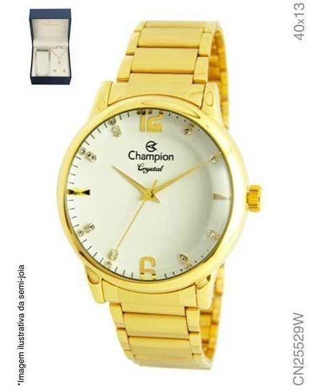 Kit Relógio Champion Feminino Dourado Cn25529w Com Semi Joia
