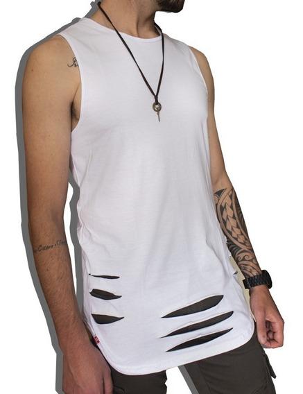 Regata Rasgada Destroyed Camiseta Swag Longline C87