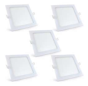 Kit 5 Peças Plafon Led Quadrado Embutir Slim 24w Branco Frio