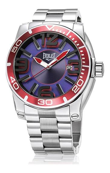 Relógio Pulso Everlast Masculino Aço Calendário Prata E541