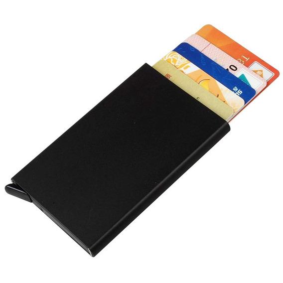 Billetera Tarjetero Automática Slim De Aluminio Color Negro