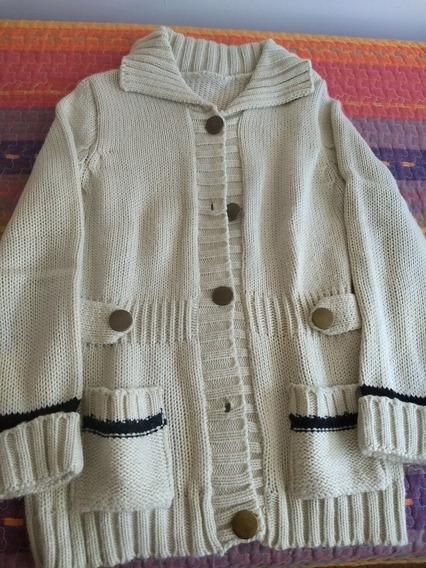 Sweater Saco Chaleco Botones Lana Mujer M