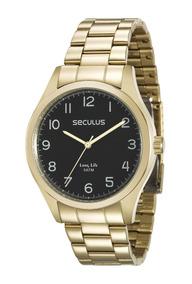 Relógio Seculus Masculino 2 Anos De Garantia 28920gpsvda2