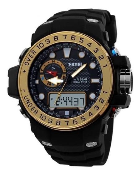 Relógio Masculino Preto/dourado Skmei 1063 (caixa + Certif.)
