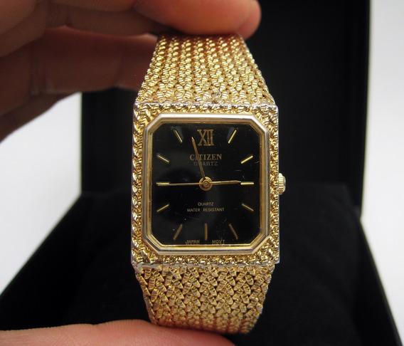 Reloj Original Citizen Vintage Años 90s Con Chapa Oro 18k