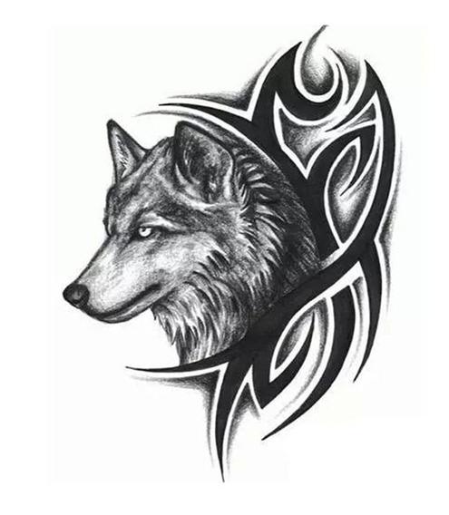 Tatuaje Temporal Con Diseño 3d De Lobo 190x120 Mm
