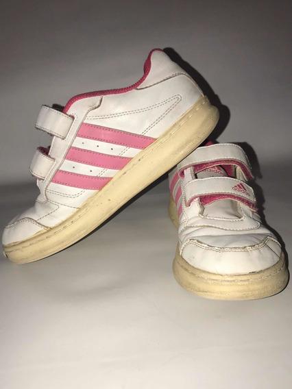 Zapatillas Niña adidas Con Abrojo Blancas Con Rosa 35