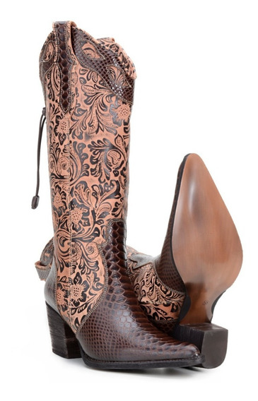 Bota Feminina Texana Country Couro Legitimo Capelli Boots