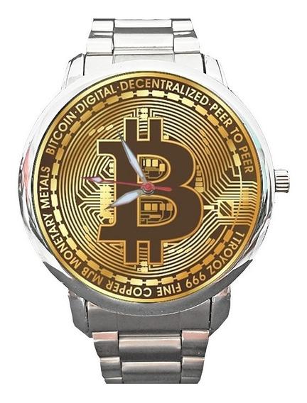 Relógio Bitcoin Criptomoeda Moeda Dinheiro Valor Capital