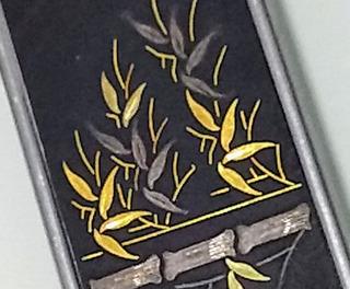 Canivete Porta Notas Amita Damascene Japan Prata E Ouro 24k