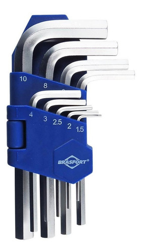 Imagem 1 de 5 de Jogo De Chave Allen Brasfort Com 9 Peças 1,5 A 10mm