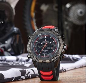 Relógio Weide Vermelho Aço Inoxidável Importado Promoção Top