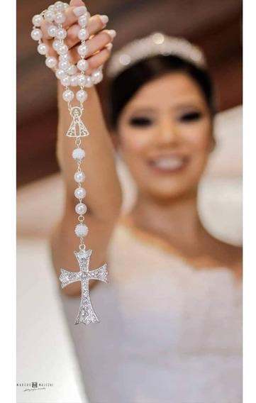 Terço De Noiva, Prata Com Pérolas Brancas, Nossa Senhora Aparecida Vazada