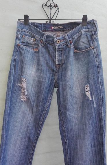 Pantalon Jean Hombre Azul Roto Gola
