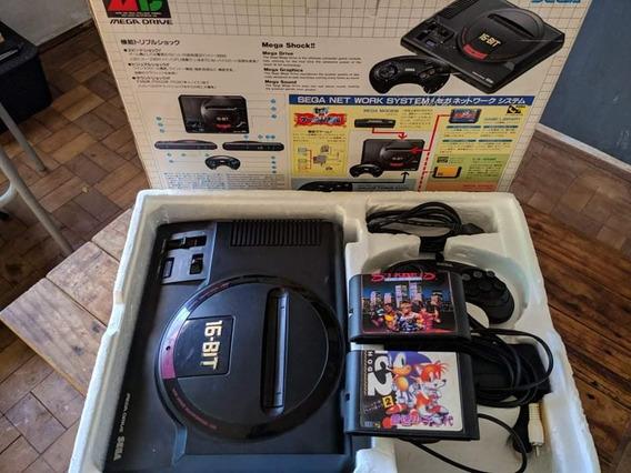 Mega Drive 1 Japonês Completo Com Caixa E Manuais.