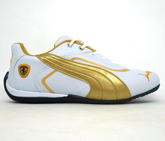 Tênis Puma Ferrari New Branco E Dourado Importado