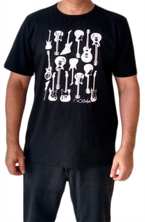Camiseta Adulta Masculina Estampa Guitarras T-shirt Algodão