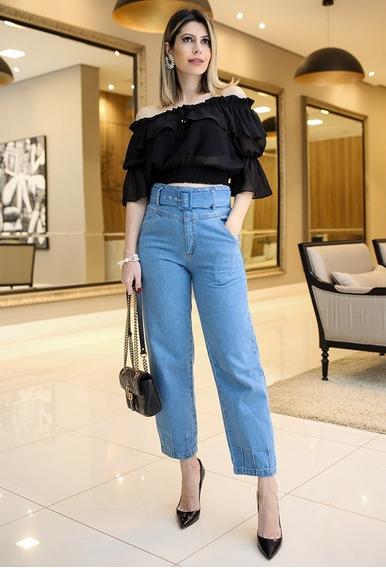 Calça Jeans Diana Cós Alto Com Cinto