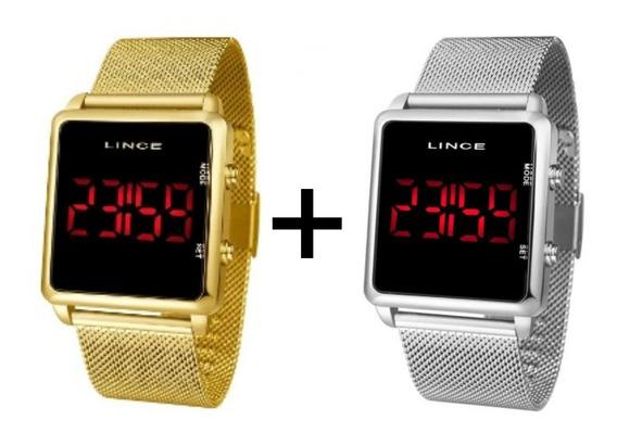 2 Relógios Lince Dourado + Prateado Digital
