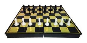 Jogo Xadrez E Damas 2 Em 1 Com Tabuleiro Magnético Dobrável