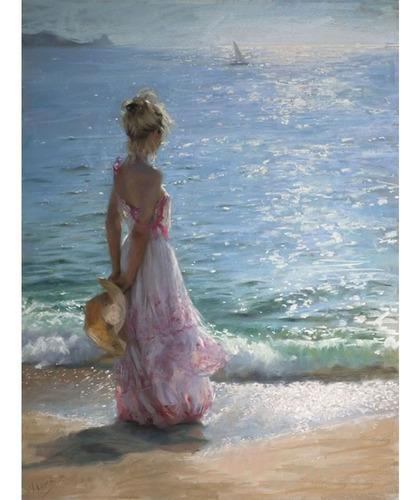 Pintura Numerada Mulher Cotemplando O Mar_p2
