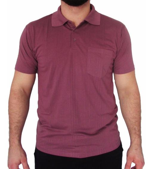Camisa Tamanho Grande Gola Polo Poliviscose Canelada C Bolso