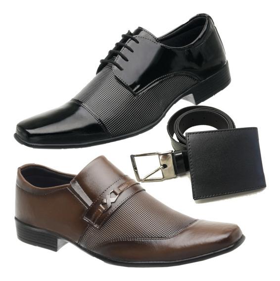 2 Par Social De Sapato Masculino Com Cinto + Carteira