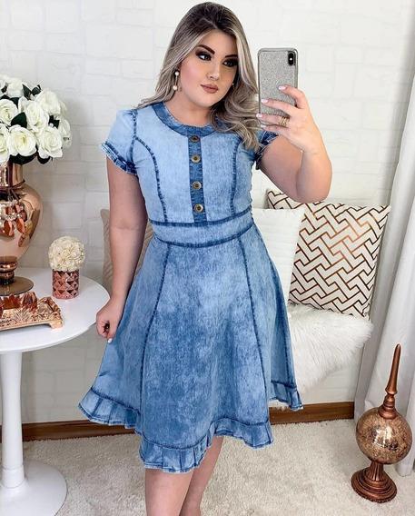Vestido Jeans Midi Feminina Evangélico Nesgas Botões Moda