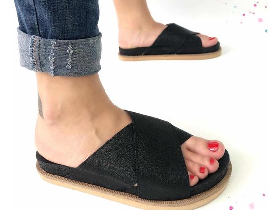 Sandalias De Mujer Con Plataforma Cruzadas Brillo Art 202