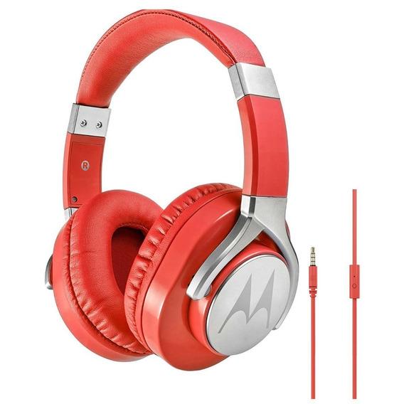 Fone Estéreo C Fio Original Moto Pulse Max Over Ear Vermelho