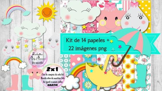 Cliparts Y Papeles Lluvia De Amor Mod. 3 Kit Imprimible