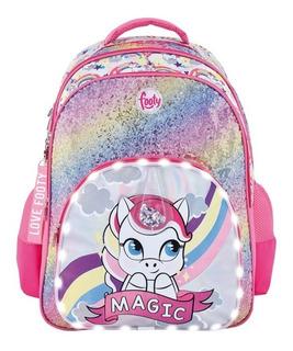 Mochila Footy 18p Unicornio Magic Fucsia C/luz Led F1313