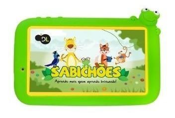 Tablet Dl Sabichoes 7p 8gb Wifi Qc 1cam Capa Verde Tx386bvd
