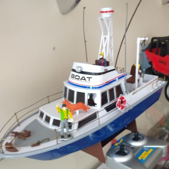 Barco Lancha Controle Remoto 4 Canais Bateria Recarregável