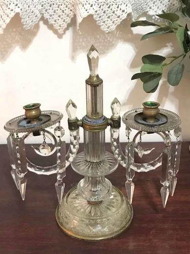 Imagen 1 de 7 de Antiguo Candelabro De Cristal Y Bronce Con Caireles