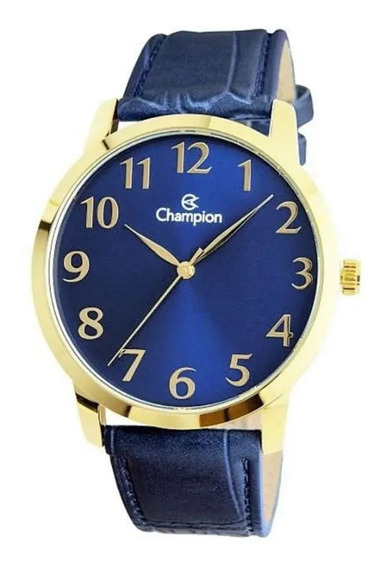 Relógio Masculino Champion Dourado Fundo Azul Pulseira Couro
